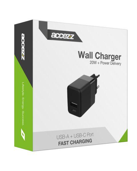 Wall Charger USB-C & USB-A 20W + Power Delivery - Zwart - Zwart / Black