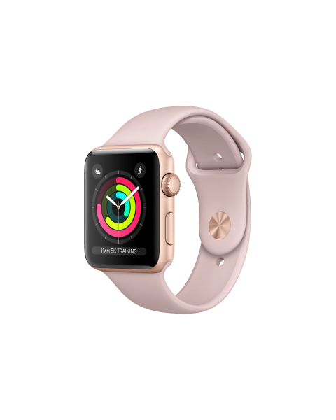 Refurbished Apple Watch Series 3 38mm GPS Aluminum Case Goud met roze sportbandje
