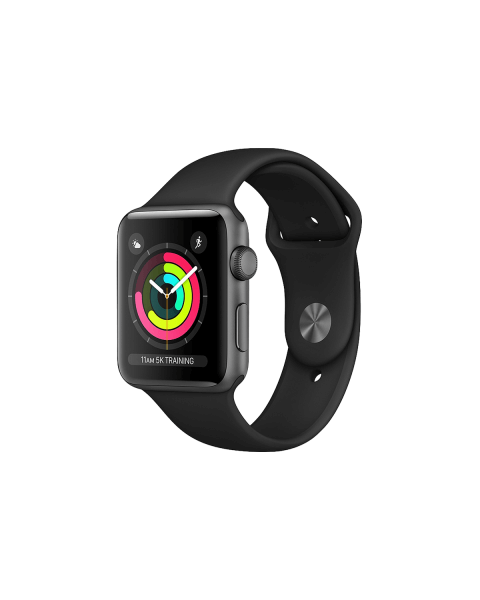 Refurbished Apple Watch Series 3 42mm GPS Aluminum Case Spacegrijs met zwart sportbandje